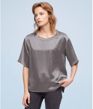 Блузка из шелкового атласа высокой плотности BLU020