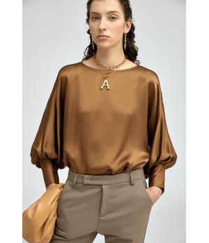"""Блузка из натурального """"жатого"""" шелка высокой плотности BLU039"""