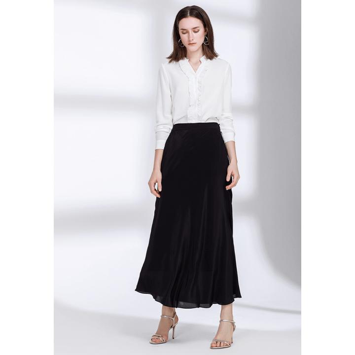 Длинная юбка двойная из шелкового крепдешина BRU010