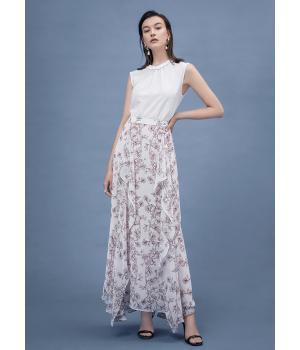 Длинная юбка двойная из шелкового шифона BRU011