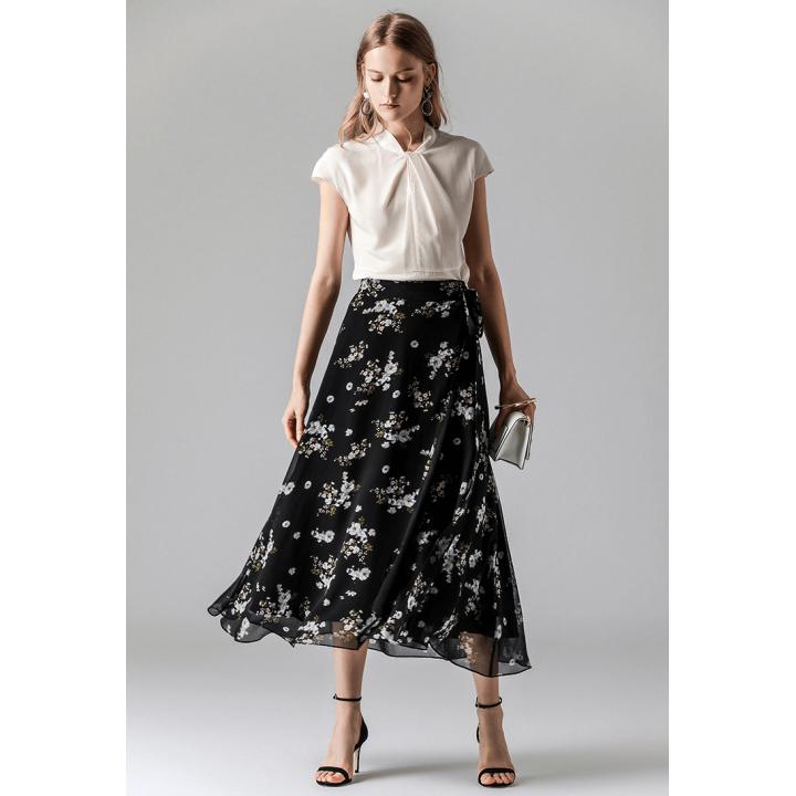 Длинная юбка двойная из шелкового шифона BRU017