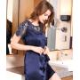 Домашнее шелковое платье с кружевной отделкой DPL004