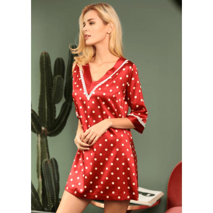 Домашнее платье из шелкового стрейч-атласа DPL005
