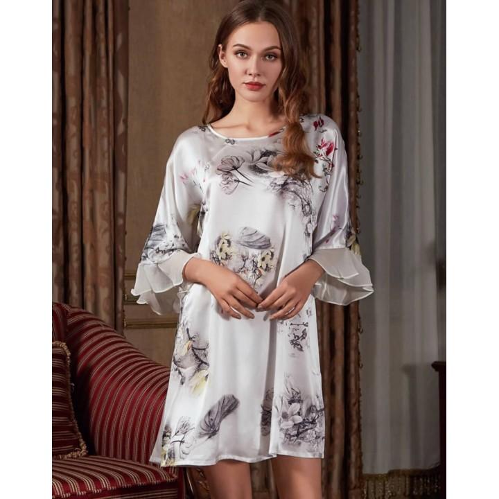 Домашнее шелковое платье с шифоновой отделкой DPL006