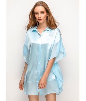 Халат-рубашка из шелкового атласа HAL022