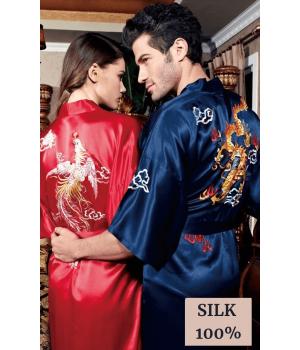 Элитный халат из шелкового атласа с ручной вышивкой HAL045