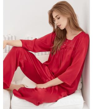 Пижама из натурального шелкового атласа высокой плотности PIJ013