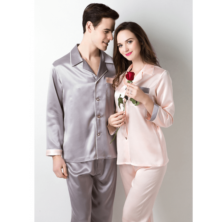 Мужская и женская шелковые пижамы PIJ035