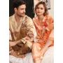 Мужская и женская шелковые пижамы  с ручной росписью PIJ063