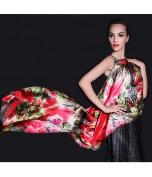 Двойной атласный шелковый шарф 180х55 см SHR-008