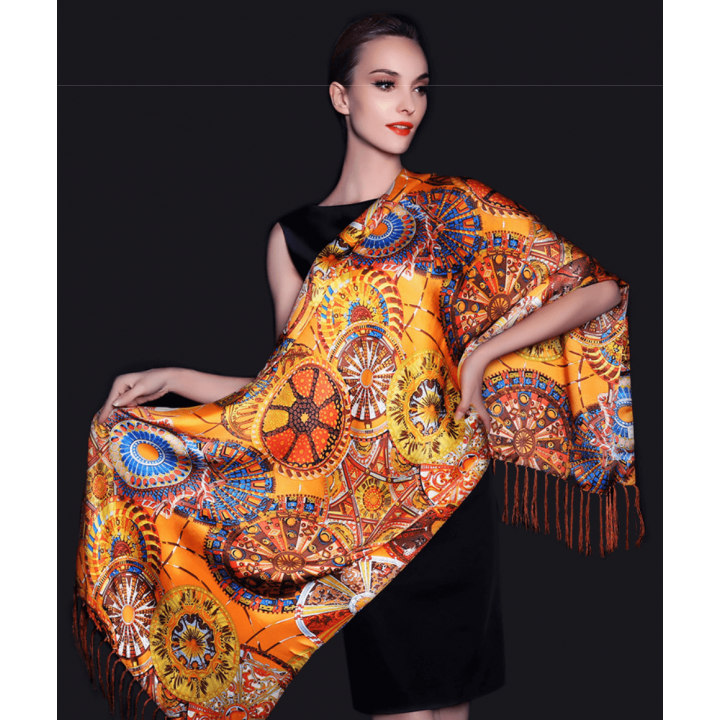 Двойной атласный шелковый шарф 180х55 см SHR-009
