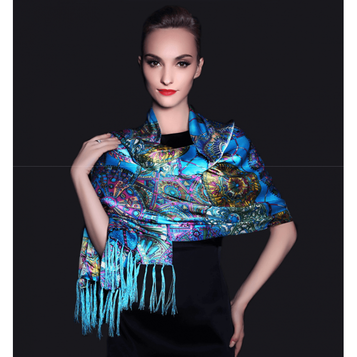Двойной атласный шелковый шарф 180х55 см SHR-010