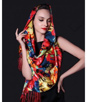 Двойной атласный шелковый шарф 180х55 см SHR-011