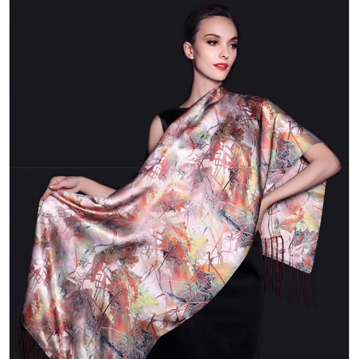 Двойной атласный шелковый шарф 180х55 см SHR-012