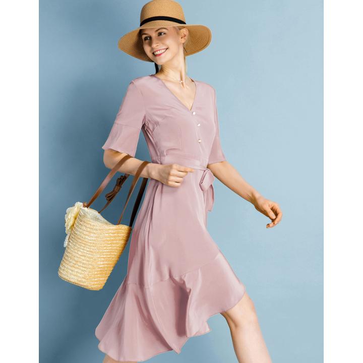 Платье из шелкового крепа PLA005B