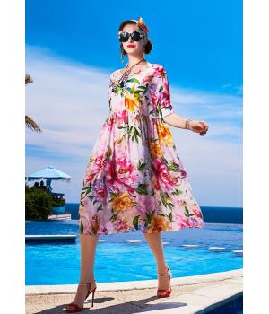 Платье из шелкового крепдешина PLA011
