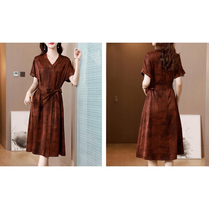 Платье из натурального двойного крепа PLA016