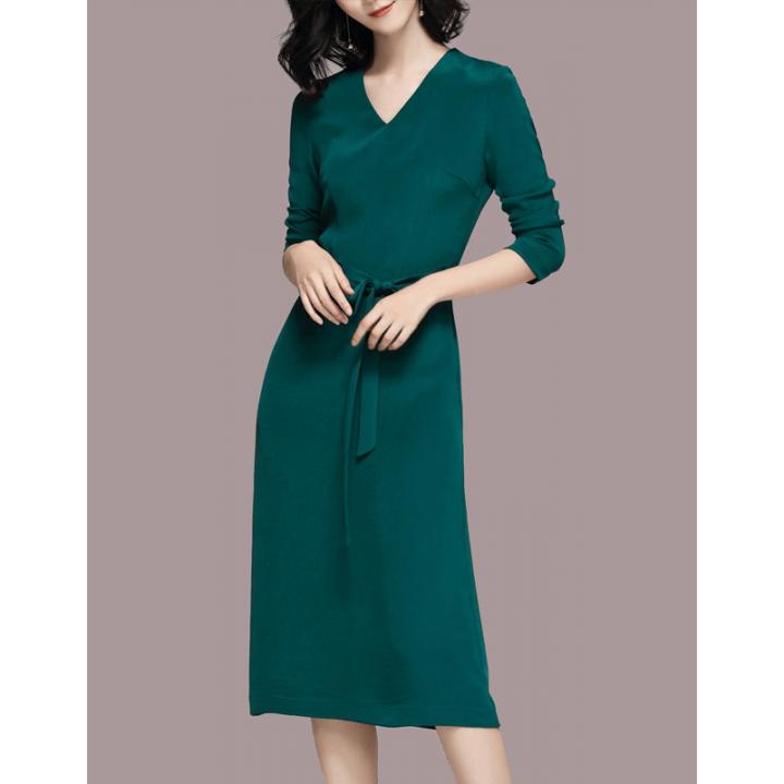 Платье из шелкового двойного крепа PLA017