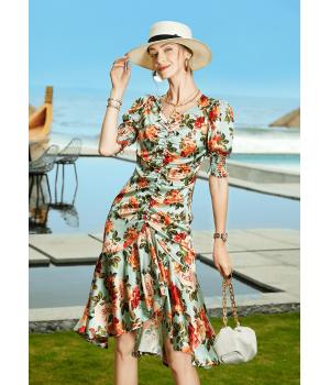 Платье из шелкового стрейч-атласа высокой плотности PLA019