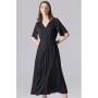 Удлиненное платье из шелкового стрейч-атласа высокой плотности PLA031