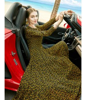 Платье из натурального шелкового шифона PLA034