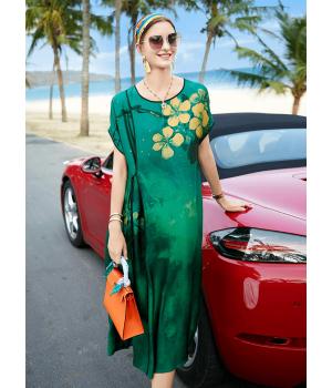 Платье из шелкового атласа с ручной росписью PLA036