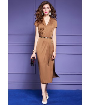 Платье из натурального шелкового стрейч-атласа PLA044