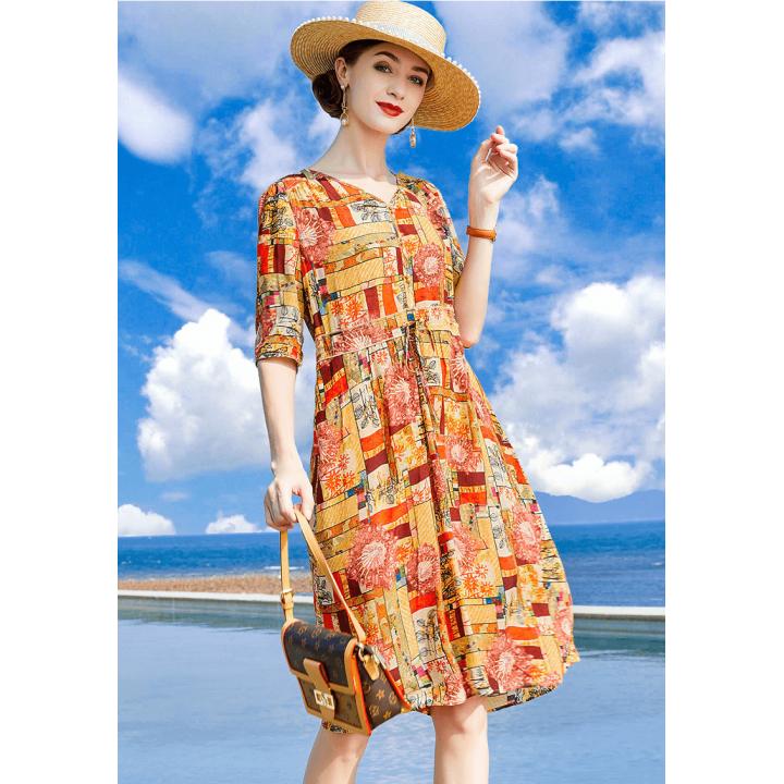 Платье из шелкового крепдешина PLA045