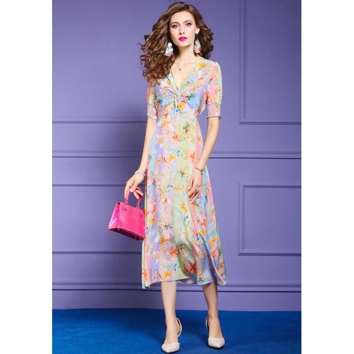 Платье из шелкового крепдешина PLA046A