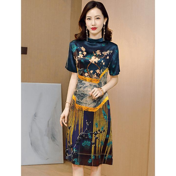 Платье из шелкового стрейч-атласа PLA051A