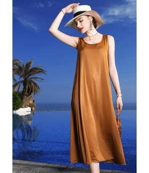 Платье из шелкового стрейч-атласа PLA053