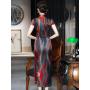 Платье в китайском стиле из натурального шелкового атласа PLA054
