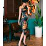 Платье в китайском стиле из натурального шелкового стрейч-атласа PLA055