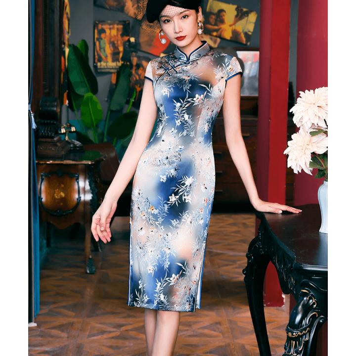 Платье в китайском стиле из натурального шелкового стрейч-атласа PLA056