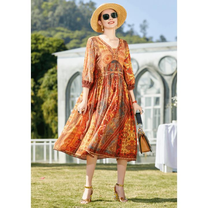 Платье из шелкового крепдешина PLA057