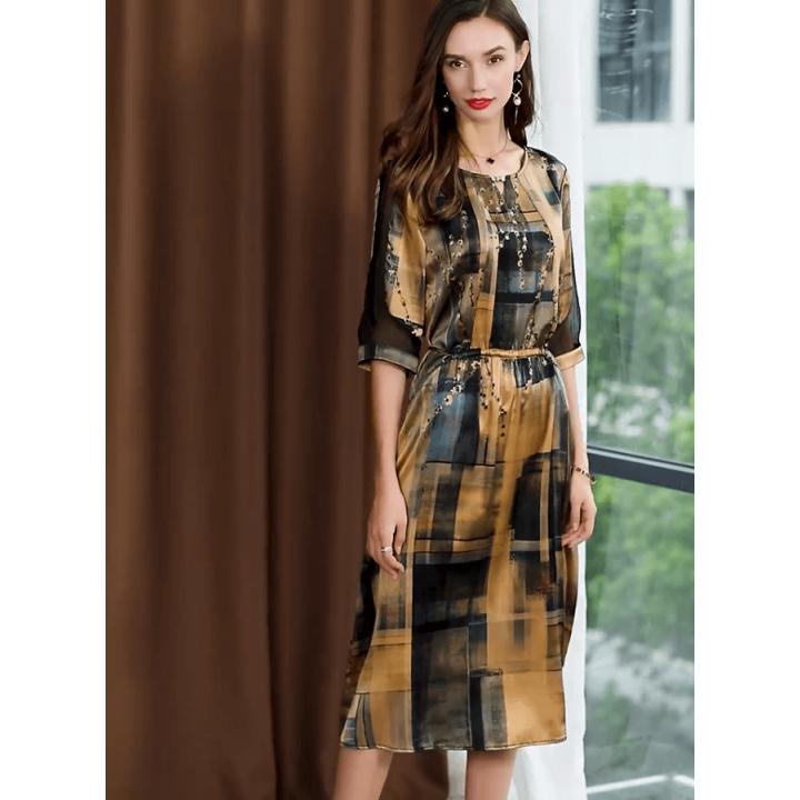 Платье из шелкового стрейч-атласа PLA060