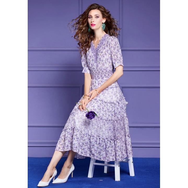 Платье из шелкового крепдешина PLA061