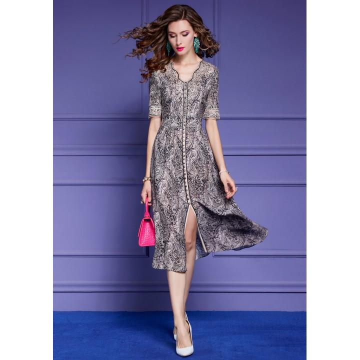 Платье из шелкового крепдешина PLA063