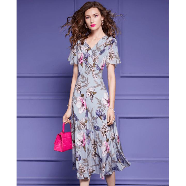Платье из шелкового крепдешина PLA075