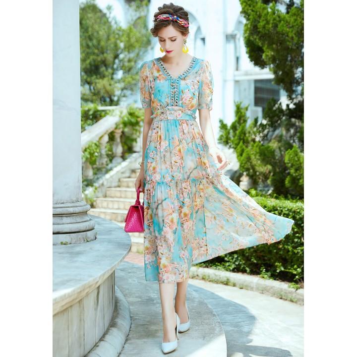 Платье из шелкового крепдешина PLA076