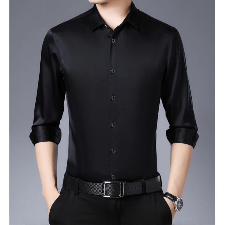 Мужская рубашка из шелкового стрейч-атласа RUB001