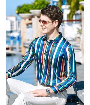 Мужская рубашка из шелкового стрейч-атласа RUB004