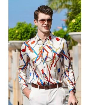 Мужская рубашка из шелкового стрейч-атласа RUB006