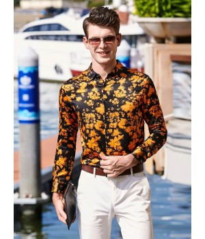 Мужская рубашка из шекового стрейч-атласа RUB007