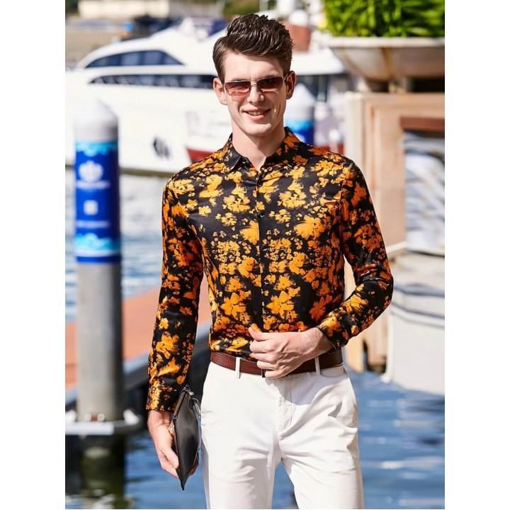 Мужская рубашка из шелкового стрейч-атласа RUB007