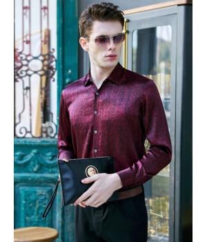 Мужская рубашка из шелкового стрейч-атласа RUB008
