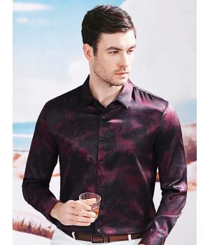 Мужская рубашка из шелкового стрейч-атласа RUB012