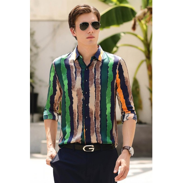 Мужская рубашка из шелкового стрейч-атласа RUB014
