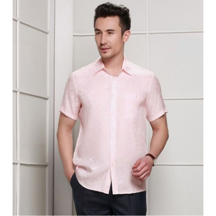 Мужская рубашка из шелка с тиснением RUB017