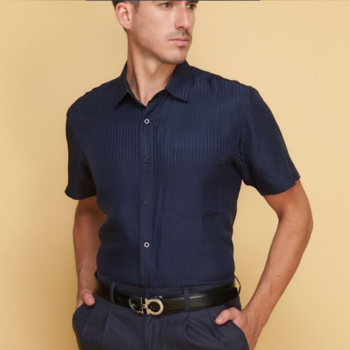 Мужская рубашка из шелка с тиснением RUB018
